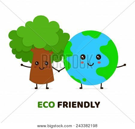 Happy Cute Smiling Green Tree And Earth Planet.ecology, Eco Friendly Concept. Vector Flat Cartoon Ch