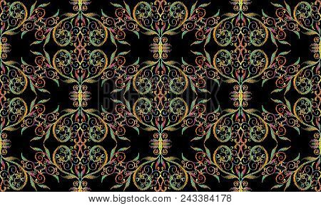 Tapestry Colorful Floral Vector Seamless Pattern. Embroidery Multicolor Damask Flowers, Leaves, Line