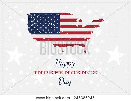 Celebrate Happy 4Th Of July - Independence Day. Vintage Retro Greeting Card With Usa Flag And Old-st