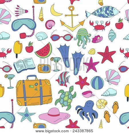 Summer Vector Seamless Pattern With Travel Things