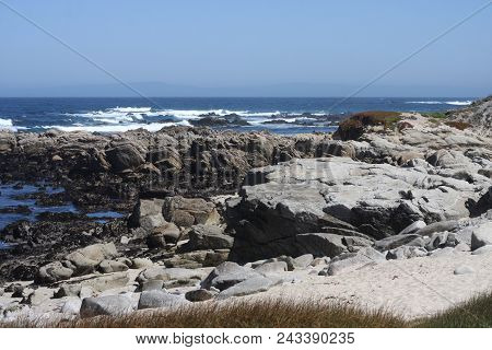 This Is An Image Of Sand, Rocks, Waives And Tide Pools At Pacific Grove, California Taken In Early S