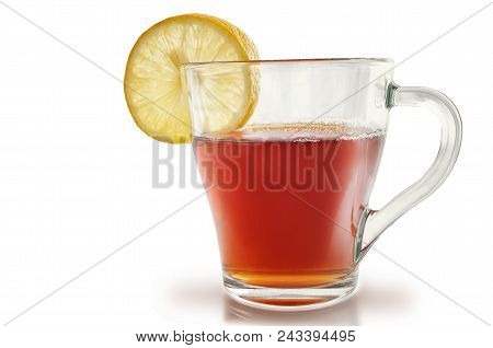 Glass Of Tea With A Lemon On A White Background. One Isolated Object On White. Horizontal Format. In