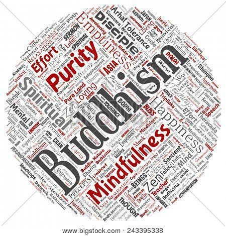 Conceptual buddhism, meditation, enlightenment, karma round circle red word cloud isolated background. Collage of mindfulness, reincarnation, nirvana, emptiness, bodhicitta, happiness concept