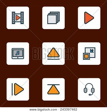 Media Icons Colored Line Set With Cinema, Upward, Top And Other Movie Elements. Isolated Vector Illu