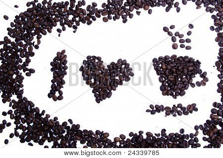 I Love Coffee Coffee Grains Shape