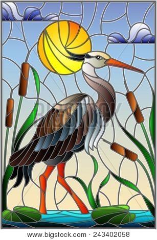 Illustration In Stained Glass Style With Brown  Heron ,  Reeds On A Pond In The Sun, Sky And Clouds