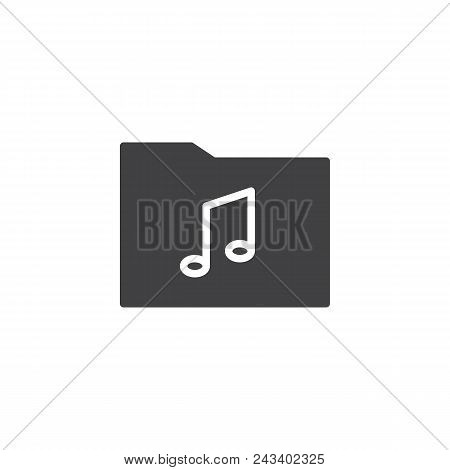 Music Folder Vector Icon. Filled Flat Sign For Mobile Concept And Web Design. Musical Note And Folde