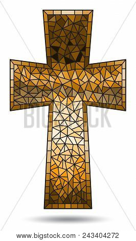 The Illustration In Stained Glass Style Painting On Religious Themes, Stained Glass Window In The Sh