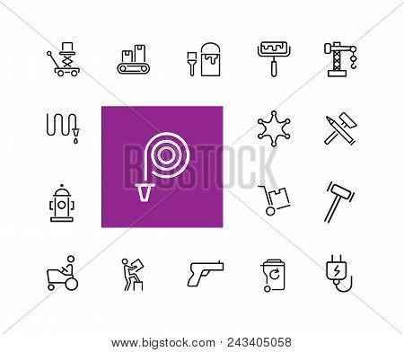 Hard Work Icons. Set Of  Line Icons. Courier, Criminal, Policeman. Occupation Symbols Concept. Vecto