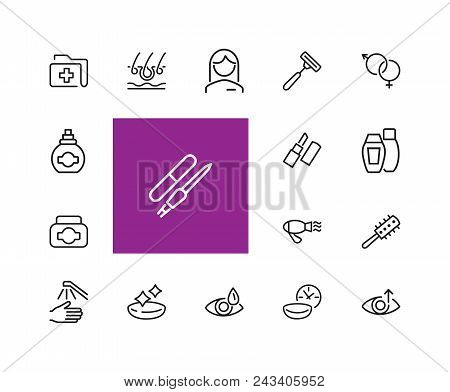 Healthcare And Beauty Icons. Set Of  Line Icons. Woman, Cosmetics, Hairdressing. Healthcare And Beau