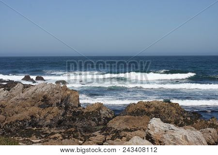 This Is An Image Of The Incoming Tide At Asilomar State Beach On A Warm Sunny Day In June.