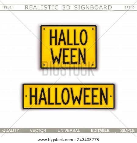 Halloween. Stylized Car License Plate. Top View. Vector Design Elements