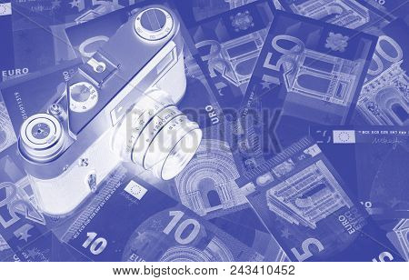 Euro Money Of Different Denominations Duotone Abstract Background