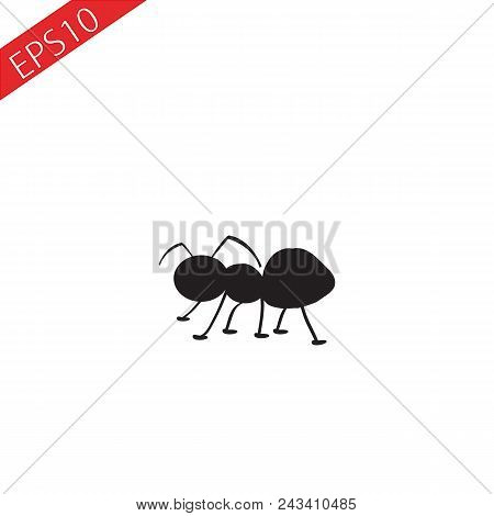Cartoon Ant Insect Bug Stylized Black Silhouette Vector Icon Eps 10.