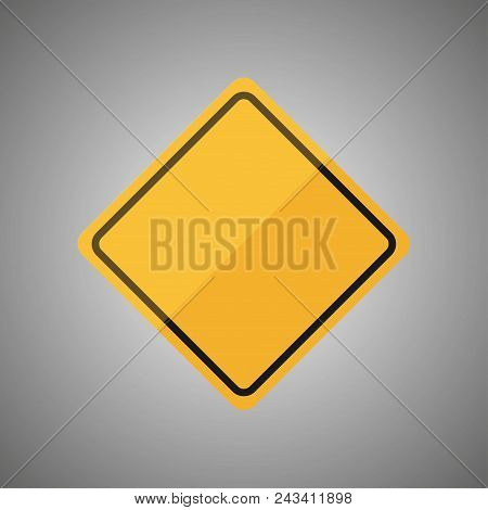 Blank Yellow Road Sign Or Empty Traffic Signs Isolated On Gray Background. Vector Illustration Eps 1