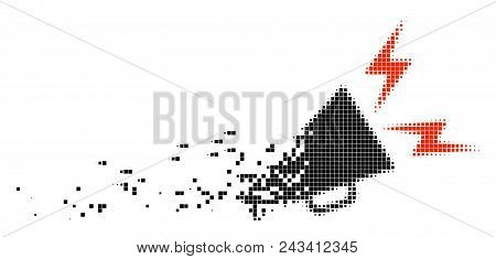 Dispersed Alert Megaphone Dot Vector Icon With Disintegration Effect. Rectangle Cells Are Organized