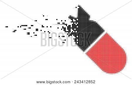 Dissolved aviation bomb dotted vector icon with disintegration effect. Rectangular points are organized into dissolving aviation bomb form. poster