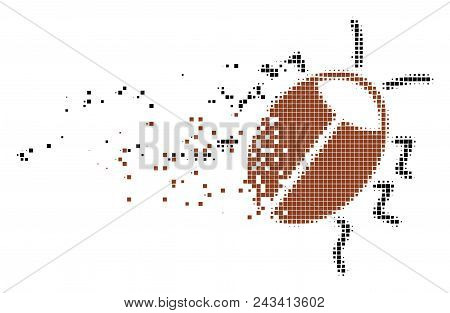 Dispersed Bug Dot Vector Icon With Disintegration Effect. Square Pieces Are Combined Into Dissolving