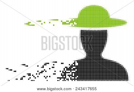 Dissolved Farmer Person Dot Vector Icon With Disintegration Effect. Rectangle Particles Are Combined