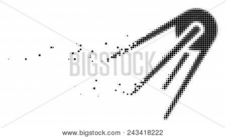 Dissolved First Satellite Dotted Vector Icon With Disintegration Effect. Rectangular Elements Are Co