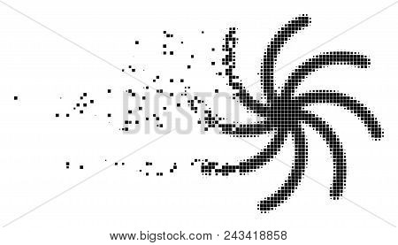 Dispersed galaxy dot vector icon with disintegration effect. Square pixels are grouped into dissipated galaxy form. Pixel burst effect demonstrates speed and movement of cyberspace objects. poster
