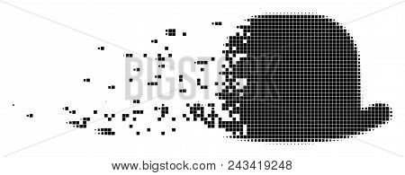 Dissolved gentleman hat dotted vector icon with disintegration effect. Rectangle points are organized into disappearing gentleman hat figure. poster