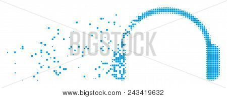 Dissolved headphones dotted vector icon with disintegration effect. Rectangular points are organized into damaging headphones figure. poster