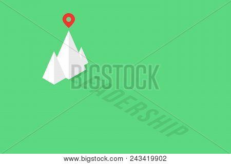 Summit Of Isometric Mountain Like Leadership Logo. Simple Flat Trendy Logotype Graphic Art Design Is
