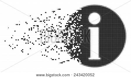 Dissolved Info Dot Vector Icon With Disintegration Effect. Rectangular Elements Are Organized Into D