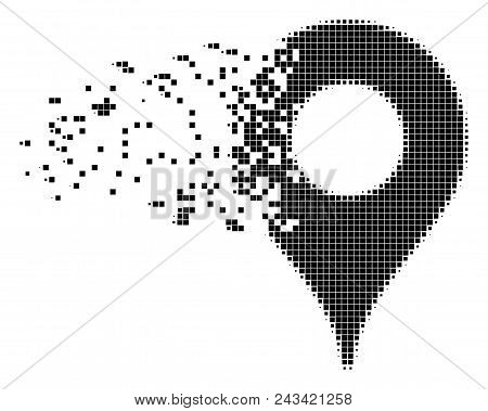 Dispersed map pointer dot vector icon with disintegration effect. Rectangle cells are grouped into disappearing map pointer shape. Pixel dust effect shows speed and movement of cyberspace items. poster