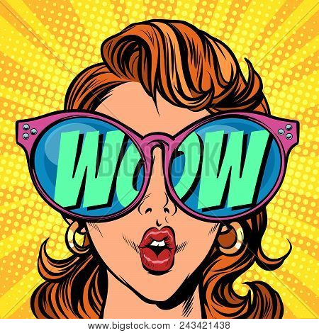 Woman with sunglasses. wow in reflection. Comic cartoon pop art retro illustration vector kitsch drawing poster