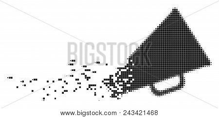 Dissolved Megaphone Dot Vector Icon With Disintegration Effect. Rectangle Fragments Are Grouped Into