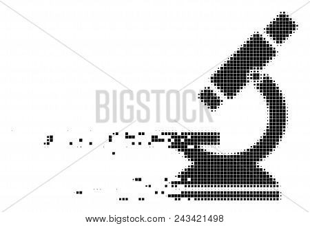 Dispersed Microscope Dotted Vector Icon With Disintegration Effect. Rectangular Pieces Are Arranged