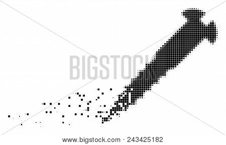Dissolved Screw Dotted Vector Icon With Disintegration Effect. Rectangle Elements Are Combined Into