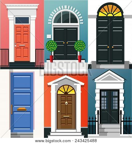 Entrance Doors. A Set Of Entrance Doors. A Set Of Entrance Doors In A Flat Style. Set Of Colorful Fr