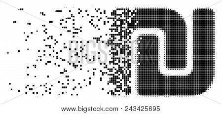 Dissolved Shekel Dotted Vector Icon With Disintegration Effect. Square Dots Are Arranged Into Disper