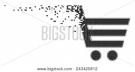 Dissolved Shopping Cart Dotted Vector Icon With Disintegration Effect. Rectangular Particles Are Gro