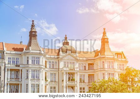 Old Buildings In Wroclaw, Cityscape At Sunset