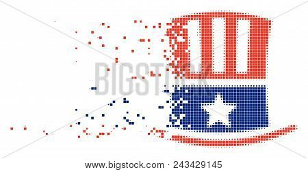 Dissolved Uncle Sam hat dot vector icon with disintegration effect. Square cells are grouped into dissolving Uncle Sam hat figure. poster