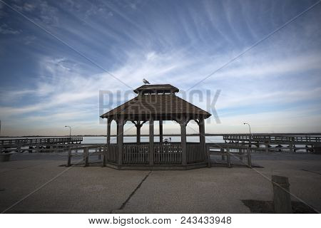 This Is An Image Of A Gazebo Taken At A Local Fishing Pier