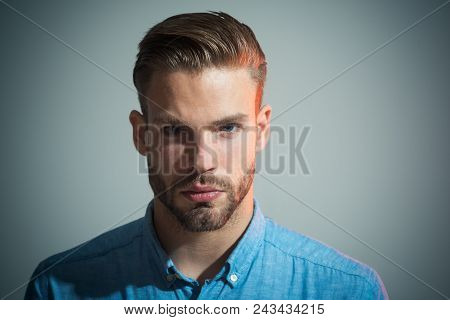 Confident Successful Male Model In Blue Shirt. Pensive Smart Serious Businessman. Attractive Handsom