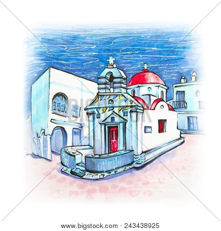 Picturesque View Of Agia Anna Church, Typical Greek Church Building On The Island Mykonos, The Islan