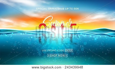 Summer Sale Background Template. Vector Illustration With Deep Underwater Ocean Scene. Background Wi