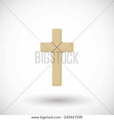 Wooden Cross Flat Vector Icon, Flat Design Of Religiuos Vector Illustration With Round Shadow Isolat