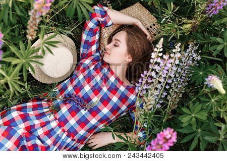 Sweet Girl Sleeping In A Meadow Grass Full Of Lupine Flowers. Top View Portrait.