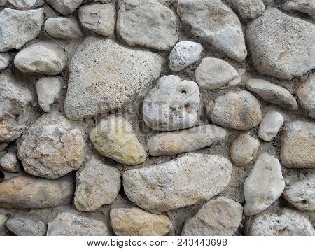 Stones Background, Gray Large Stones, Boulders In The Masonry, Part Of Stone Fence, Close-up Of Ston