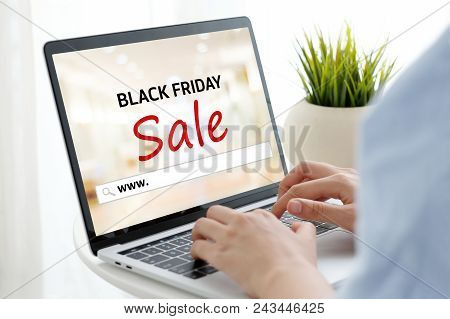 Woman Hands Typing Laptop Computer With Www. On Search Bar Over Black Friday Sale Web Banner Backgro