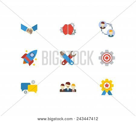Technology Cooperation Icons Set. Handshake And Technology Cooperation Icons With Brainstorming, Sta