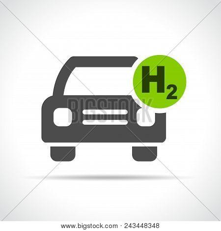 Illustration Of Hydrogen Car Icon On White Background