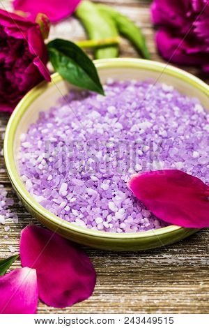 Purple Peony Rose Bath Salt Blend For Spa And Aromatherapy. Selective Focus.